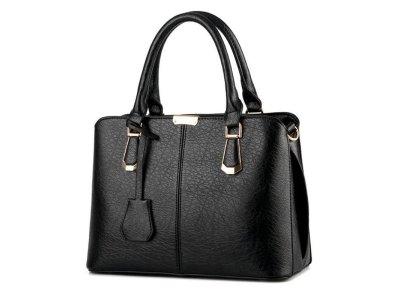 Kožená luxusní velká černá kabelka